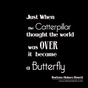 Just when the caterpillar thought the world was over she became a butterfly